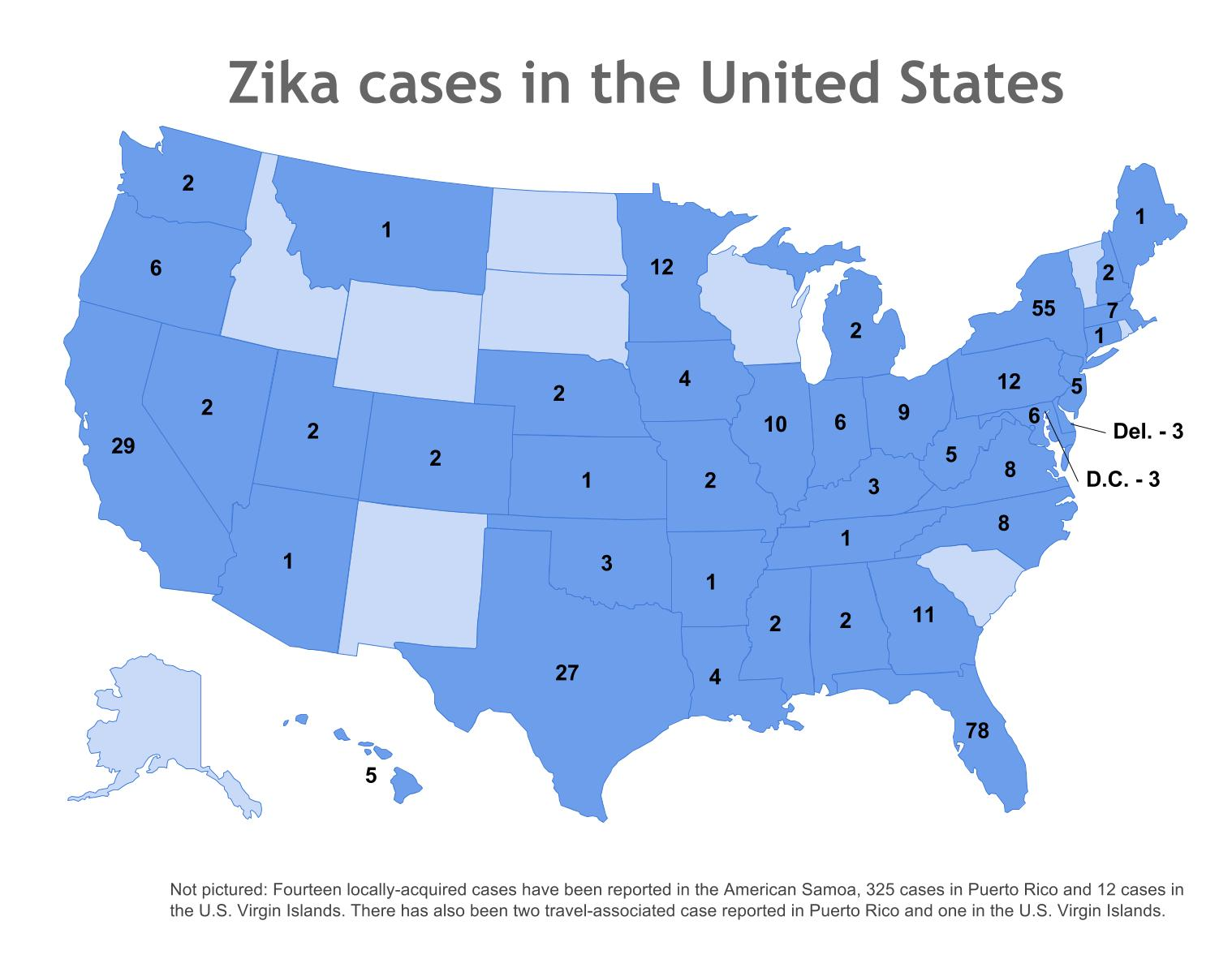 Where in the US have Zika cases been reported April 8 update