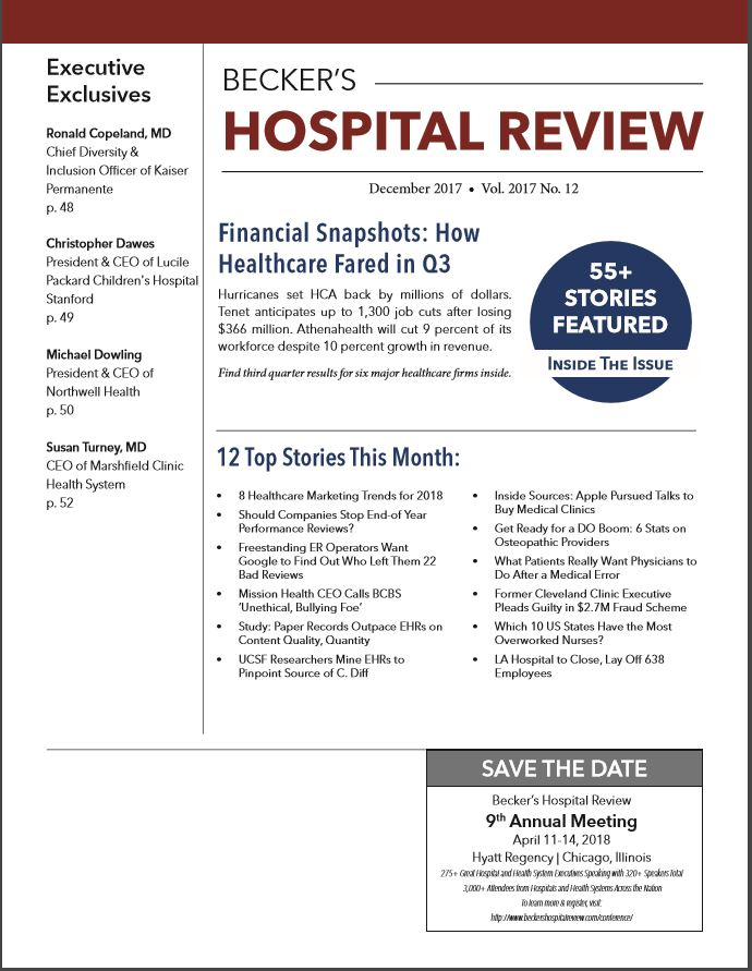 December 2017 Issue of Beckers Hospital Review