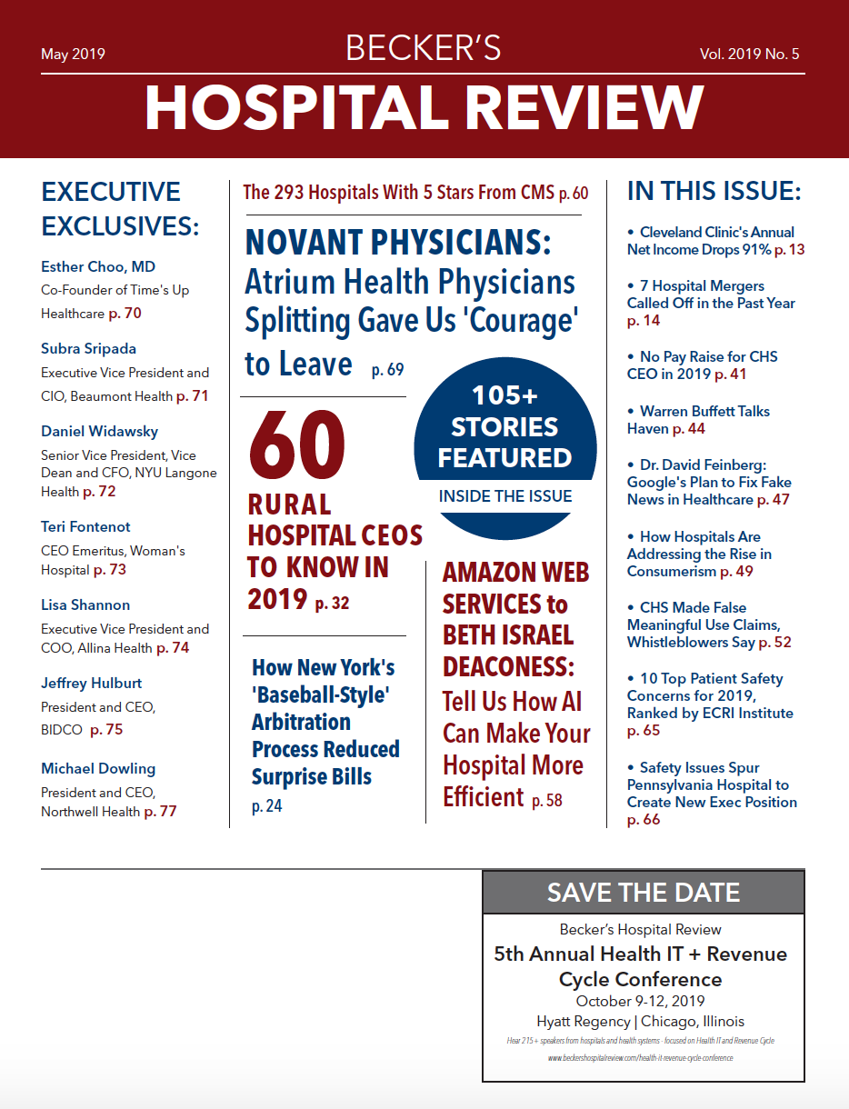 May 2019 Issue of Becker's Healthcare Review
